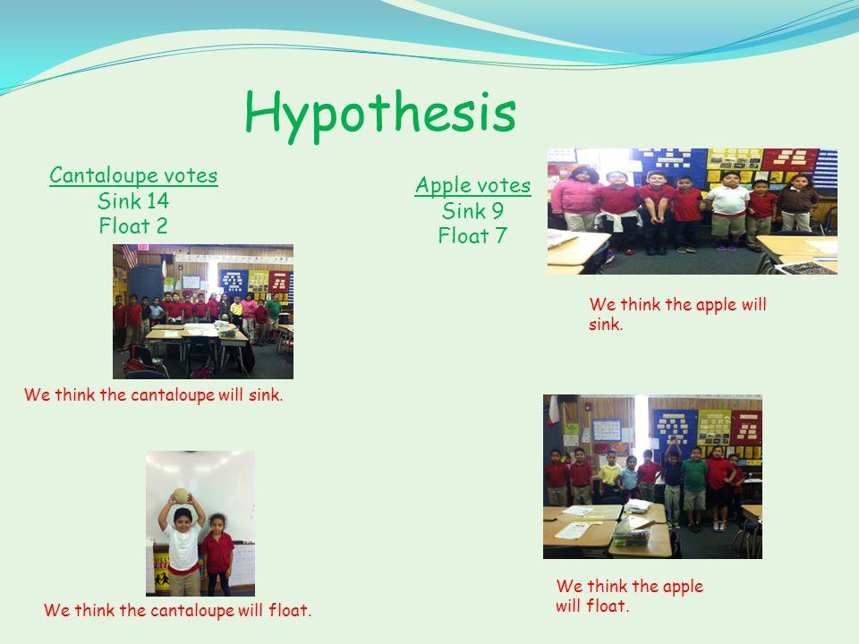 Hypothesis Lemon votes Sink 1 Float 15 I think that the lemon will sink.
