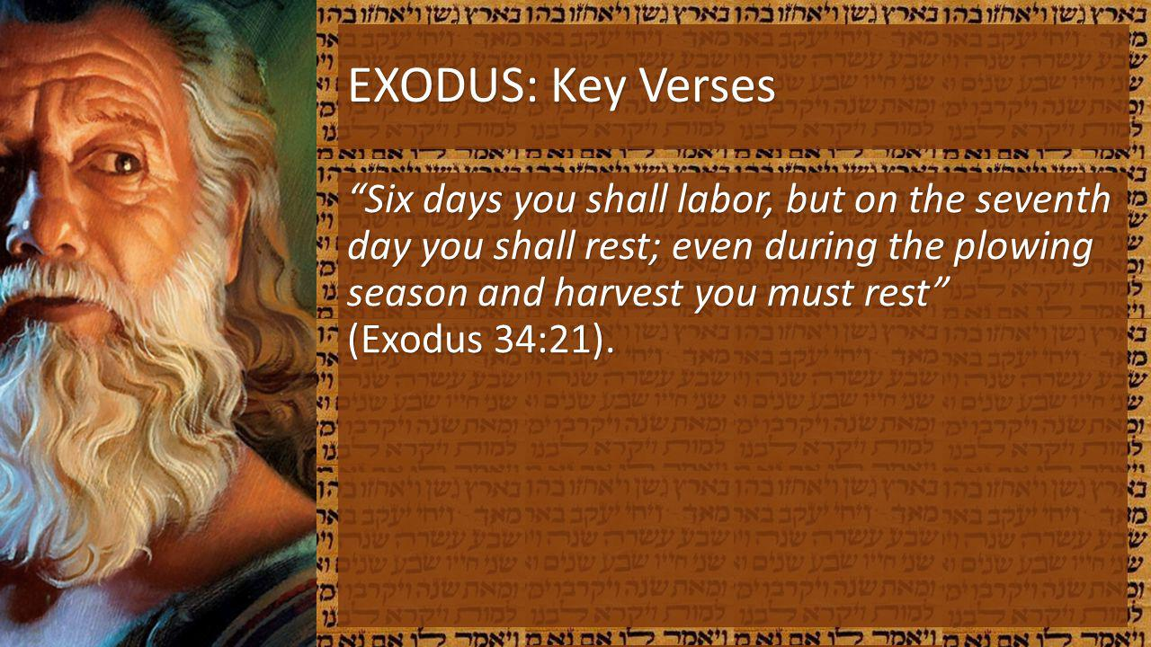 EXODUS: Key Verses Six days you shall labor, but on the seventh day you shall rest; even during the plowing season and harvest you must rest (Exodus 3