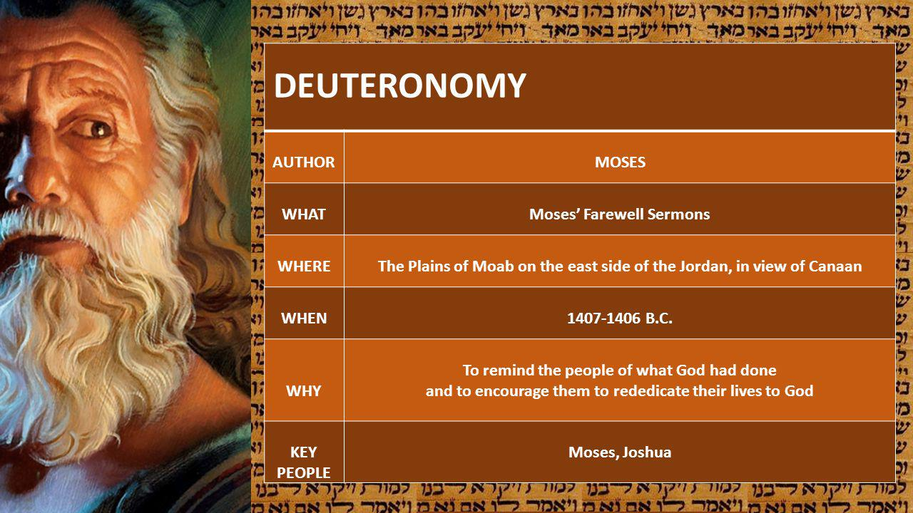 DEUTERONOMY AUTHORMOSES WHATMoses Farewell Sermons WHEREThe Plains of Moab on the east side of the Jordan, in view of Canaan WHEN1407-1406 B.C. WHY To