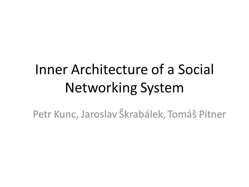 Inner Architecture of a Social Networking System Petr Kunc, Jaroslav Škrabálek, Tomáš Pitner