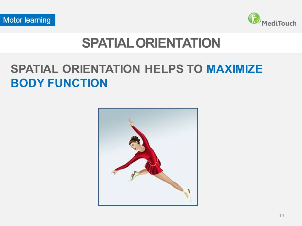 SPATIAL ORIENTATION SPATIAL ORIENTATION HELPS TO MAXIMIZE BODY FUNCTION Motor learning 19