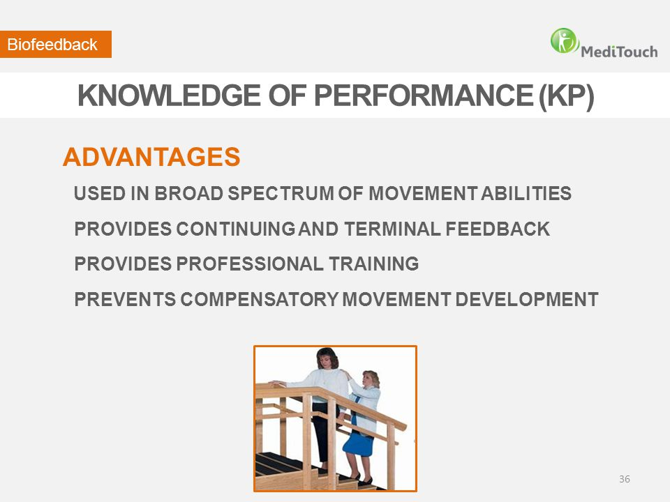KNOWLEDGE OF PERFORMANCE (KP) USED IN BROAD SPECTRUM OF MOVEMENT ABILITIES ADVANTAGES Biofeedback PROVIDES CONTINUING AND TERMINAL FEEDBACK PROVIDES P