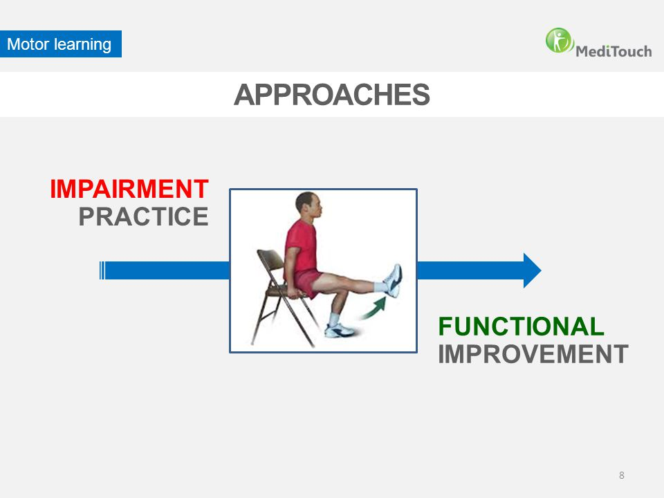 8 APPROACHES IMPAIRMENT PRACTICE FUNCTIONAL IMPROVEMENT Motor learning