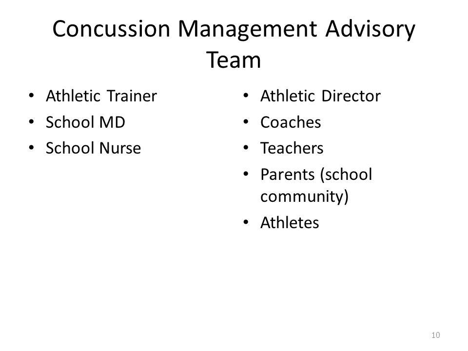 Concussion Management Advisory Team Athletic Trainer School MD School Nurse Athletic Director Coaches Teachers Parents (school community) Athletes 10