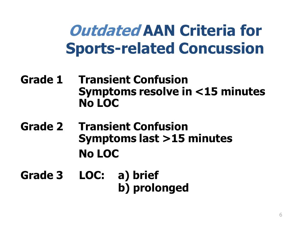 6 Outdated AAN Criteria for Sports-related Concussion Grade 1Transient Confusion Symptoms resolve in <15 minutes No LOC Grade 2Transient Confusion Symptoms last >15 minutes No LOC Grade 3 LOC:a) brief b) prolonged