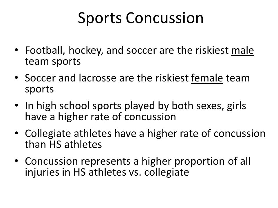 Sports Concussion Football, hockey, and soccer are the riskiest male team sports Soccer and lacrosse are the riskiest female team sports In high school sports played by both sexes, girls have a higher rate of concussion Collegiate athletes have a higher rate of concussion than HS athletes Concussion represents a higher proportion of all injuries in HS athletes vs.