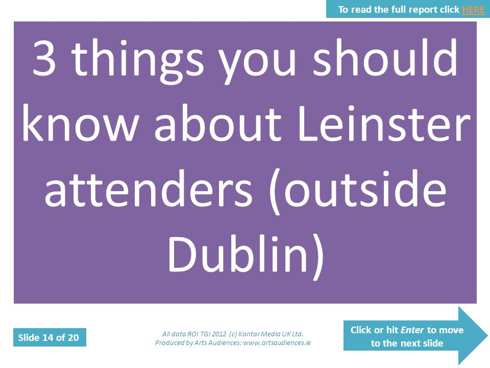 Click or hit Enter to move to the next slide Slide 14 of 20 To read the full report click HEREHERE 3 things you should know about Leinster attenders (
