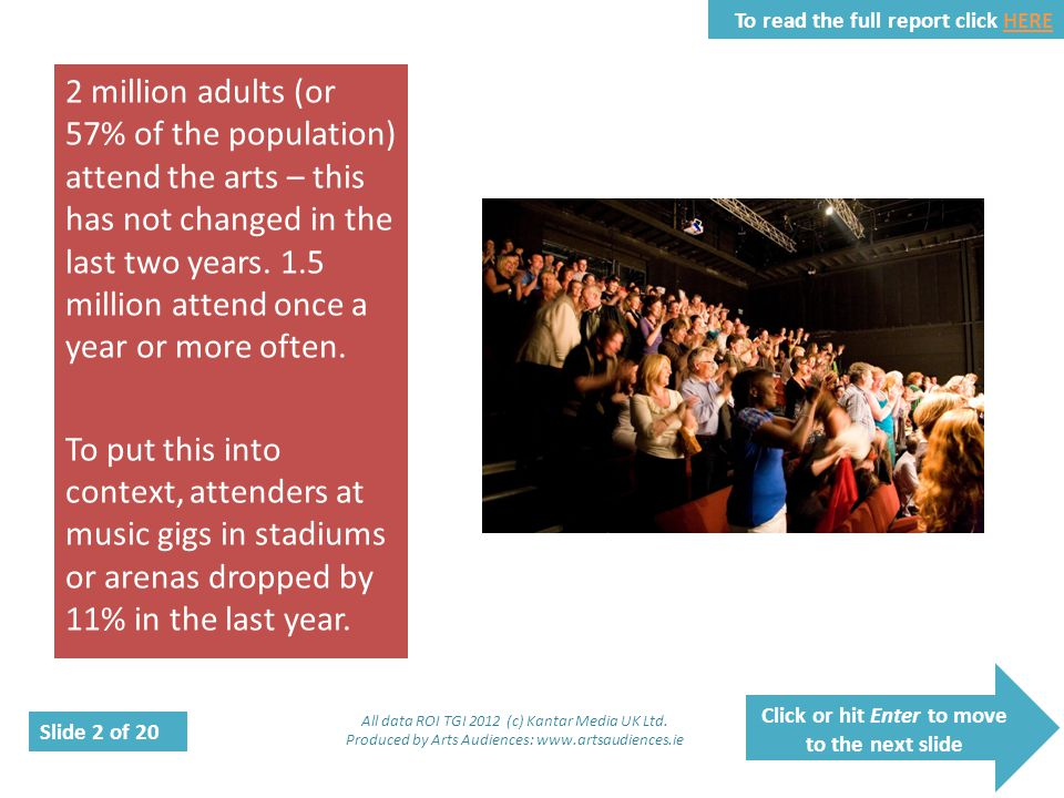 Click or hit Enter to move to the next slide Slide 2 of 20 To read the full report click HEREHERE 2 million adults (or 57% of the population) attend t