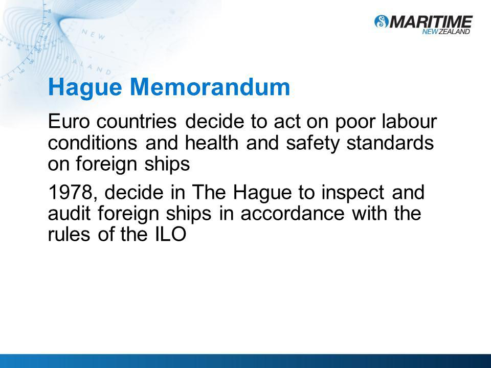 Hague Memorandum Euro countries decide to act on poor labour conditions and health and safety standards on foreign ships 1978, decide in The Hague to