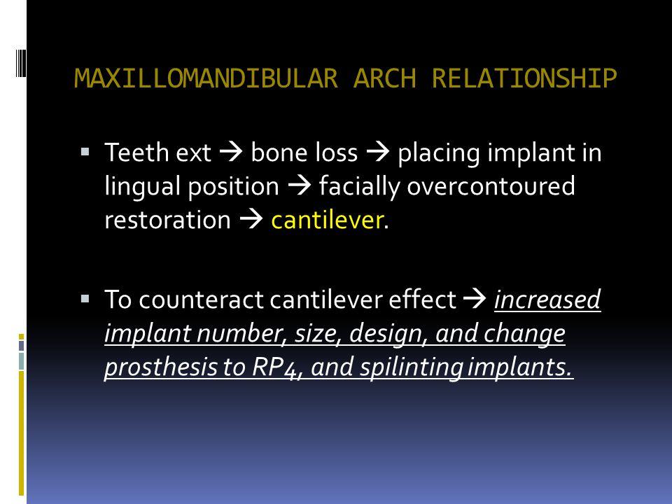 MAXILLOMANDIBULAR ARCH RELATIONSHIP Teeth ext bone loss placing implant in lingual position facially overcontoured restoration cantilever. To countera