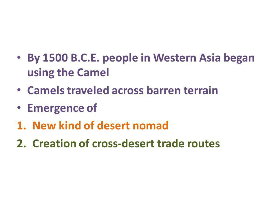 By 1500 B.C.E. people in Western Asia began using the Camel Camels traveled across barren terrain Emergence of 1.New kind of desert nomad 2.Creation o