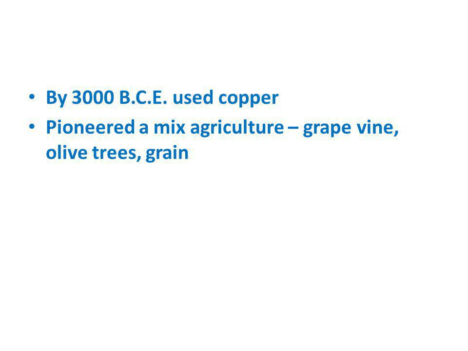 By 3000 B.C.E. used copper Pioneered a mix agriculture – grape vine, olive trees, grain