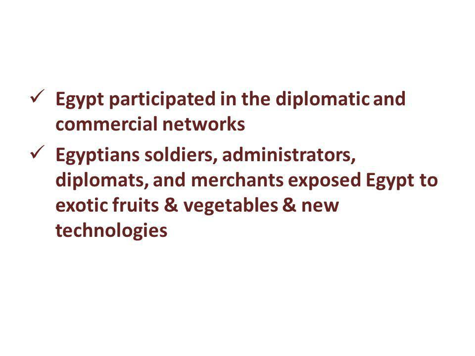 Egypt participated in the diplomatic and commercial networks Egyptians soldiers, administrators, diplomats, and merchants exposed Egypt to exotic frui