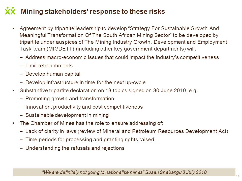 14 Mining stakeholders response to these risks Agreement by tripartite leadership to develop Strategy For Sustainable Growth And Meaningful Transforma
