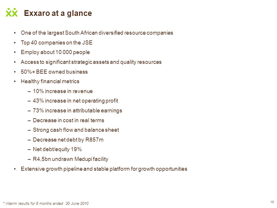 18 Exxaro at a glance One of the largest South African diversified resource companies Top 40 companies on the JSE Employ about 10 000 people Access to