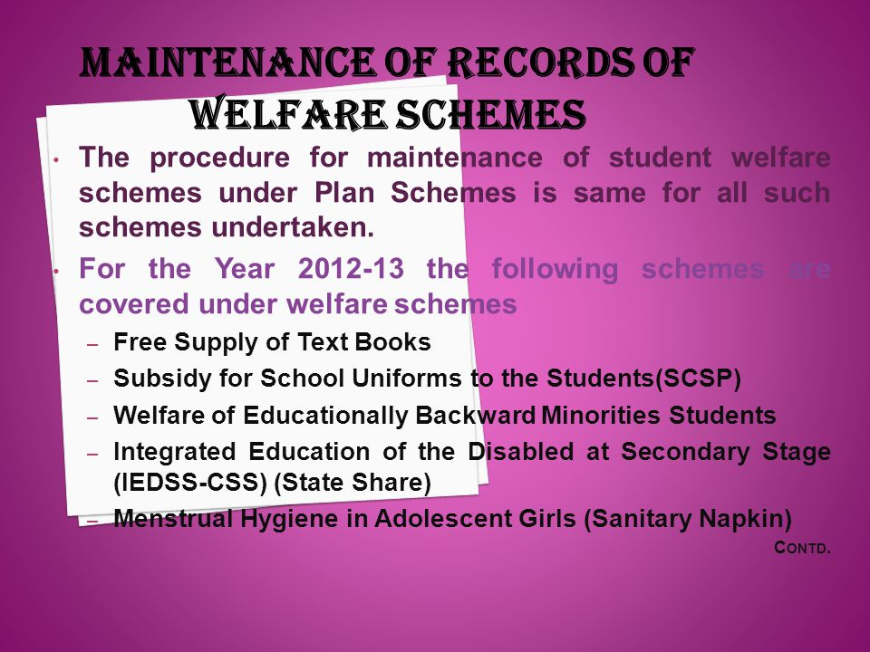 The procedure for maintenance of student welfare schemes under Plan Schemes is same for all such schemes undertaken. For the Year 2012-13 the followin
