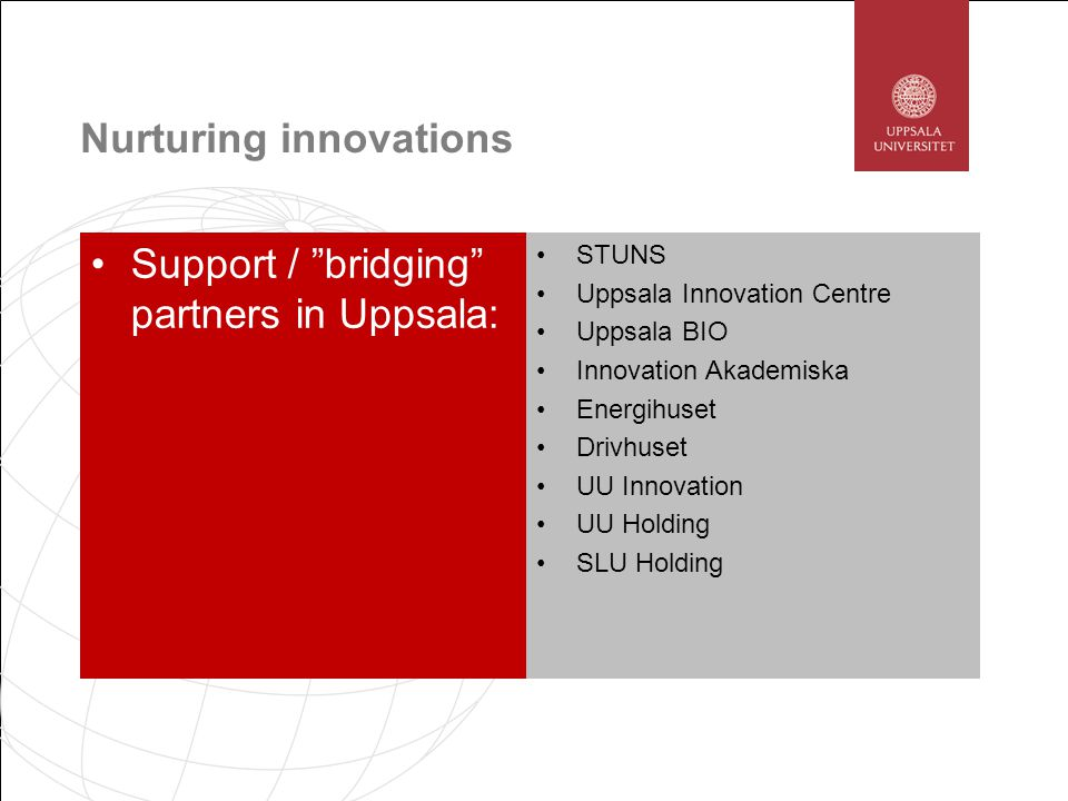Nurturing innovations Support / bridging partners in Uppsala: STUNS Uppsala Innovation Centre Uppsala BIO Innovation Akademiska Energihuset Drivhuset UU Innovation UU Holding SLU Holding