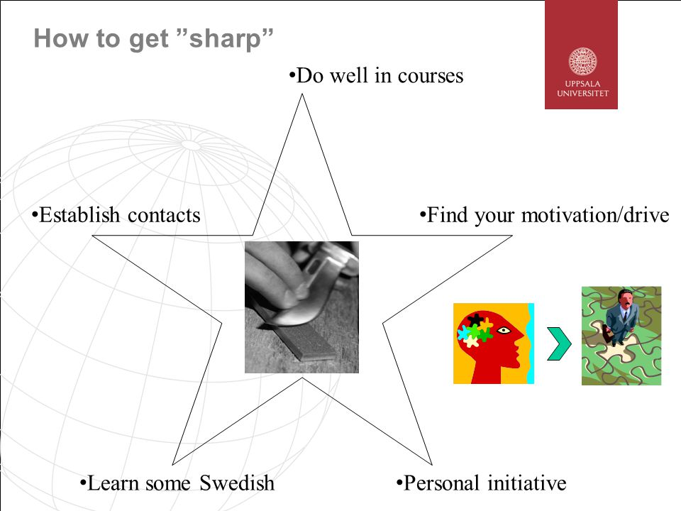 How to get sharp Do well in courses Find your motivation/drive Establish contacts Learn some Swedish Personal initiative