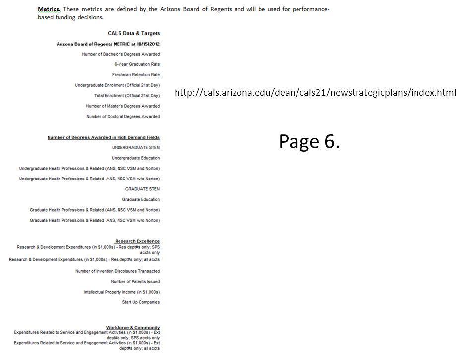 http://cals.arizona.edu/dean/cals21/newstrategicplans/index.html Page 6.
