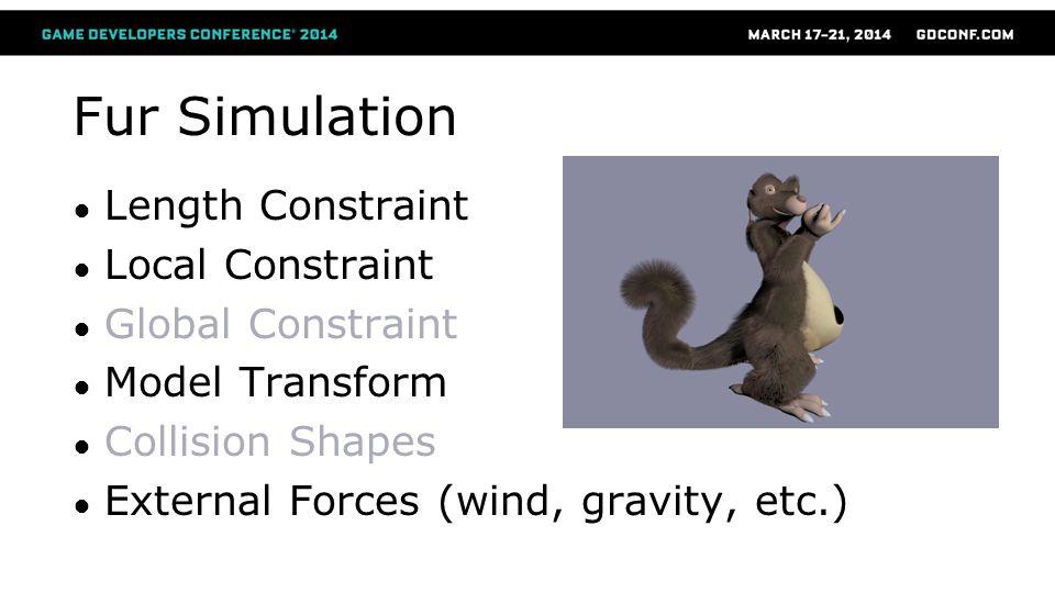 Fur Simulation Length Constraint Local Constraint Global Constraint Model Transform Collision Shapes External Forces (wind, gravity, etc.)