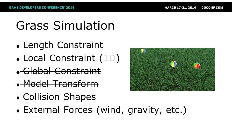 Grass Simulation Length Constraint Local Constraint (1D) Global Constraint Model Transform Collision Shapes External Forces (wind, gravity, etc.)