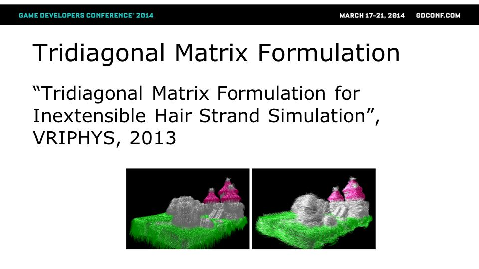 Tridiagonal Matrix Formulation Tridiagonal Matrix Formulation for Inextensible Hair Strand Simulation, VRIPHYS, 2013
