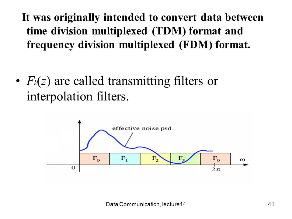 Data Communication, lecture1441 It was originally intended to convert data between time division multiplexed (TDM) format and frequency division multiplexed (FDM) format.