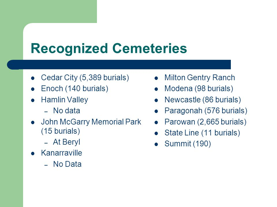 Recognized Cemeteries Cedar City (5,389 burials) Enoch (140 burials) Hamlin Valley – No data John McGarry Memorial Park (15 burials) – At Beryl Kanarraville – No Data Milton Gentry Ranch Modena (98 burials) Newcastle (86 burials) Paragonah (576 burials) Parowan (2,665 burials) State Line (11 burials) Summit (190)