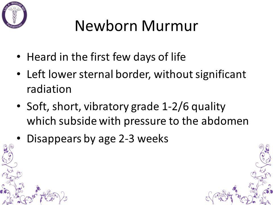 Functional Murmurs Location of functional or innocent murmurs – RUSB Venous hum – LUSB Pulmonary flow Peripheral pulmonary stenosis – LLSB Still murmur – Apex Still murmur