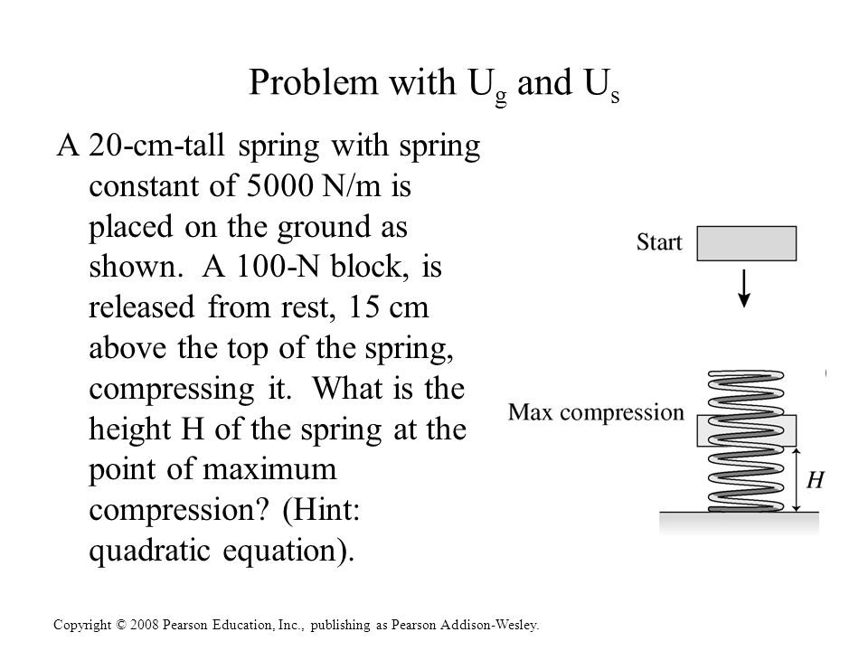 Copyright © 2008 Pearson Education, Inc., publishing as Pearson Addison-Wesley. Problem with U g and U s A 20-cm-tall spring with spring constant of 5