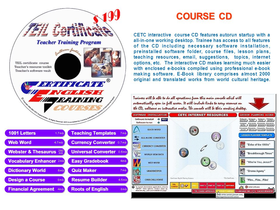 COURSE CD CETC interactive course CD features autorun startup with a all-in-one working desktop.