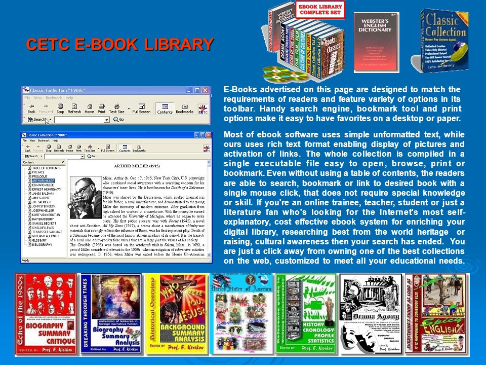 CETC E-BOOK LIBRARY E-Books advertised on this page are designed to match the requirements of readers and feature variety of options in its toolbar.
