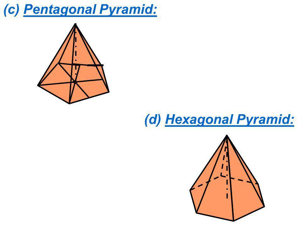 (c) Pentagonal Pyramid: (d) Hexagonal Pyramid: