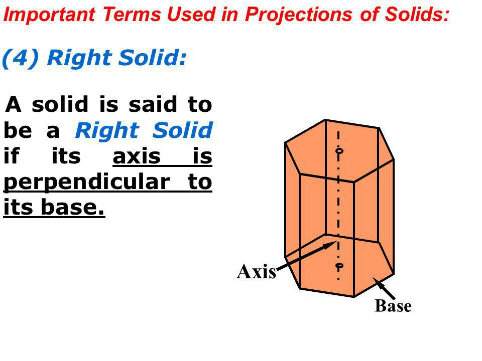 Important Terms Used in Projections of Solids: (4) Right Solid: A solid is said to be a Right Solid if its axis is perpendicular to its base. Axis Bas