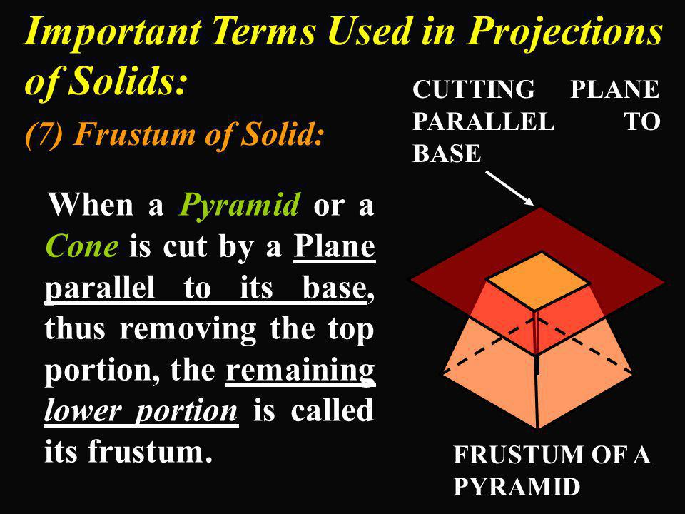 Important Terms Used in Projections of Solids: (7) Frustum of Solid: When a Pyramid or a Cone is cut by a Plane parallel to its base, thus removing th