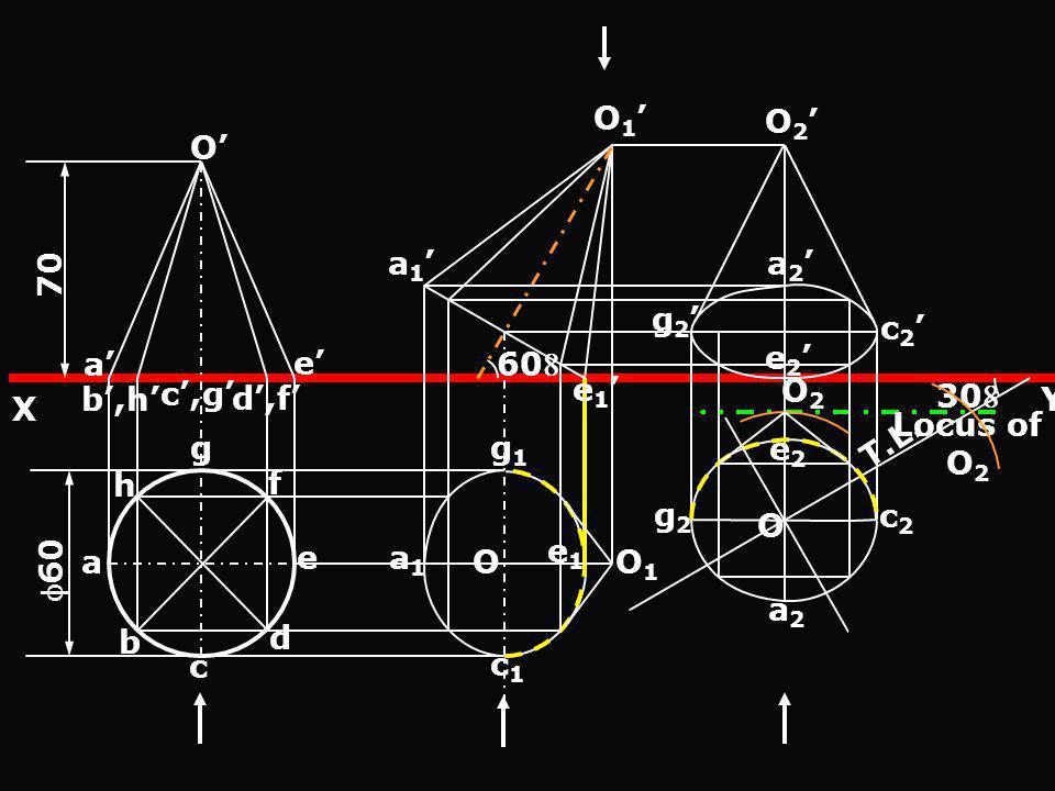 O 70 60 a b,h d,f e c,g e 1 a 1 O 1 60 O2O2 Locus of O 2 30 a e f g h b d c O 2 a 2 e 2 c 2 g 2 Y X O1O1 a1a1 c1c1 e1e1 g1g1 O T.L. g2g2 a2a2 c2c2 e2e