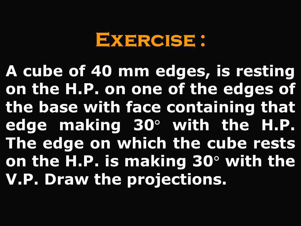 A cube of 40 mm edges, is resting on the H.P. on one of the edges of the base with face containing that edge making 30 with the H.P. The edge on which