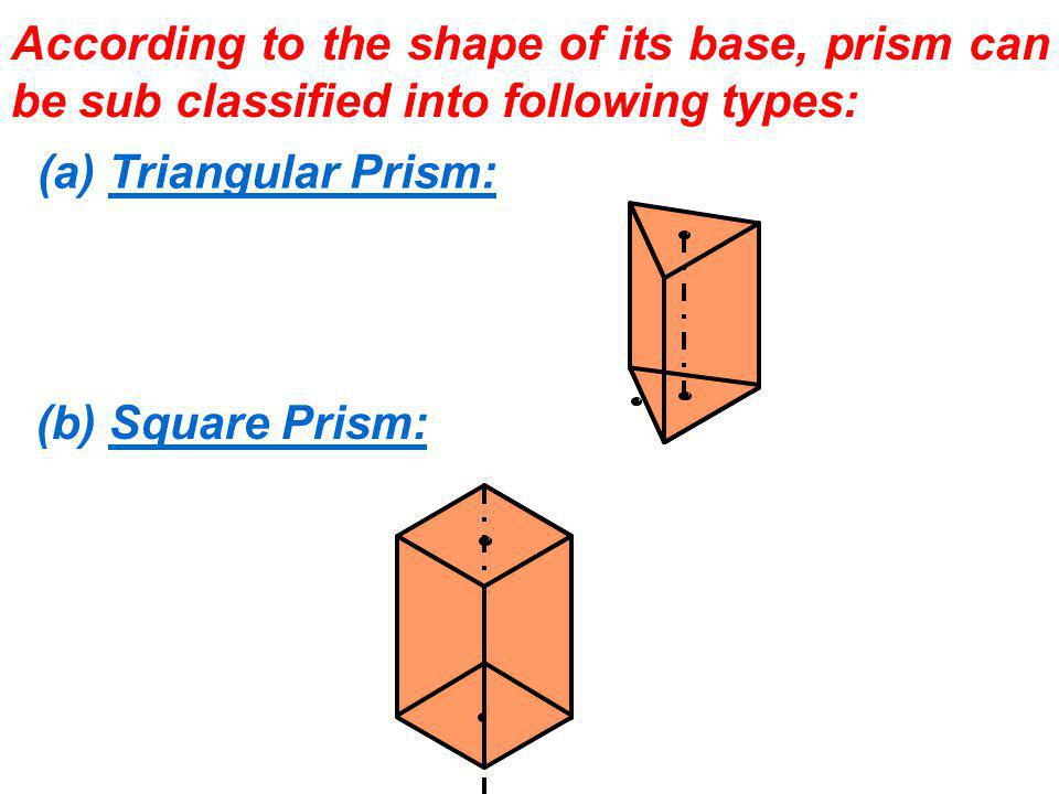 According to the shape of its base, prism can be sub classified into following types: (a) Triangular Prism: (b) Square Prism: