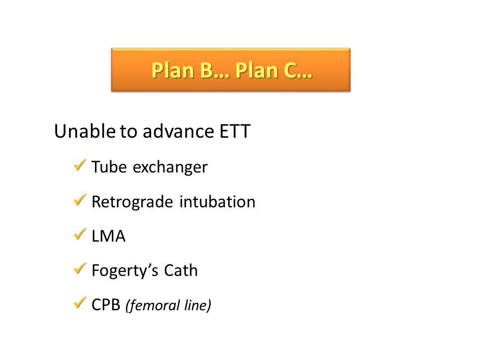 Unable to advance ETT Tube exchanger Retrograde intubation LMA Fogertys Cath CPB (femoral line) Plan B… Plan C…