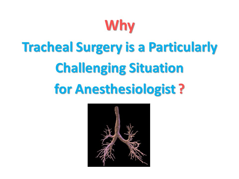 Why Tracheal Surgery is a Particularly Challenging Situation for Anesthesiologist ?
