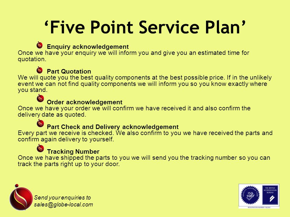 Five Point Service Plan Enquiry acknowledgement Once we have your enquiry we will inform you and give you an estimated time for quotation.