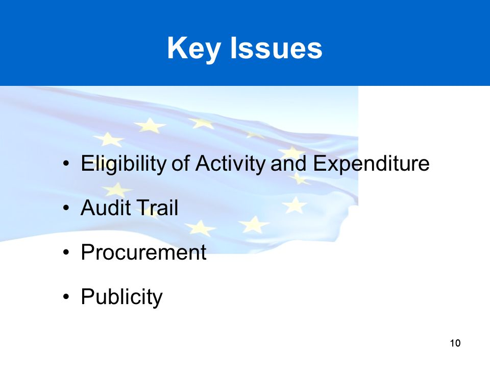 10 Key Issues Eligibility of Activity and Expenditure Audit Trail Procurement Publicity