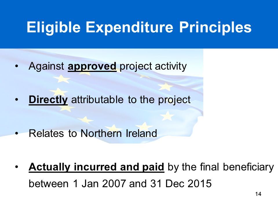 14 Eligible Expenditure Principles Against approved project activity Directly attributable to the project Relates to Northern Ireland Actually incurre
