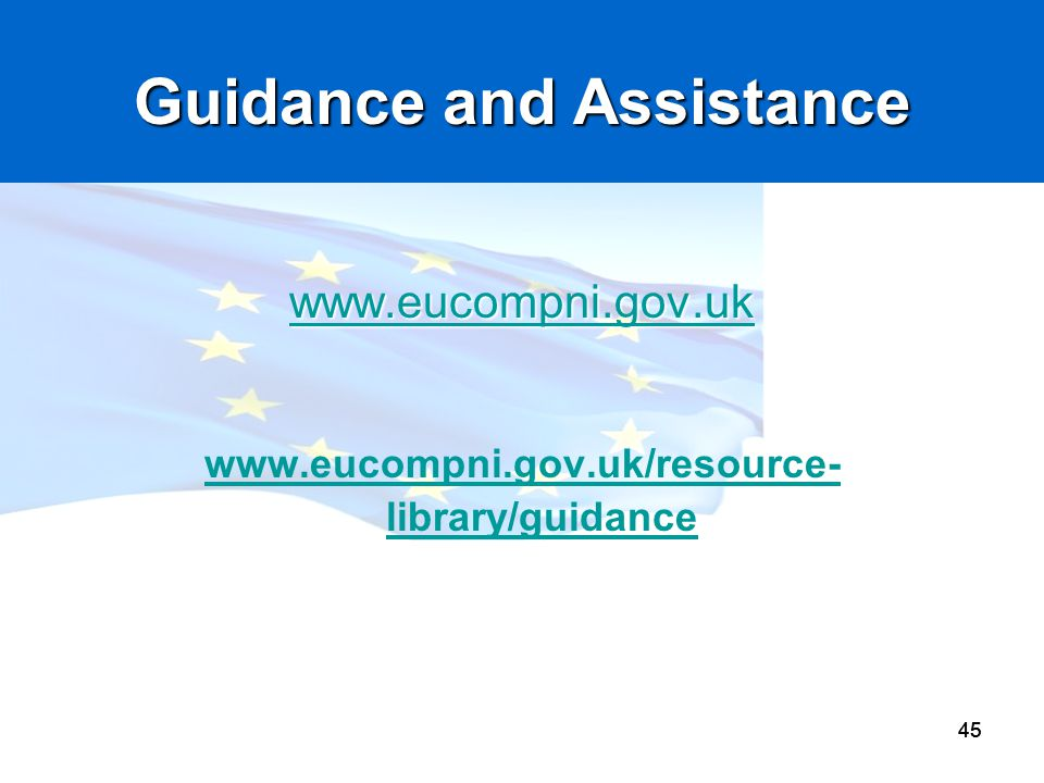 45 Guidance and Assistance www.eucompni.gov.uk www.eucompni.gov.uk/resource- library/guidance