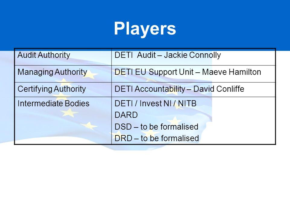 Players Audit AuthorityDETI Audit – Jackie Connolly Managing AuthorityDETI EU Support Unit – Maeve Hamilton Certifying AuthorityDETI Accountability –