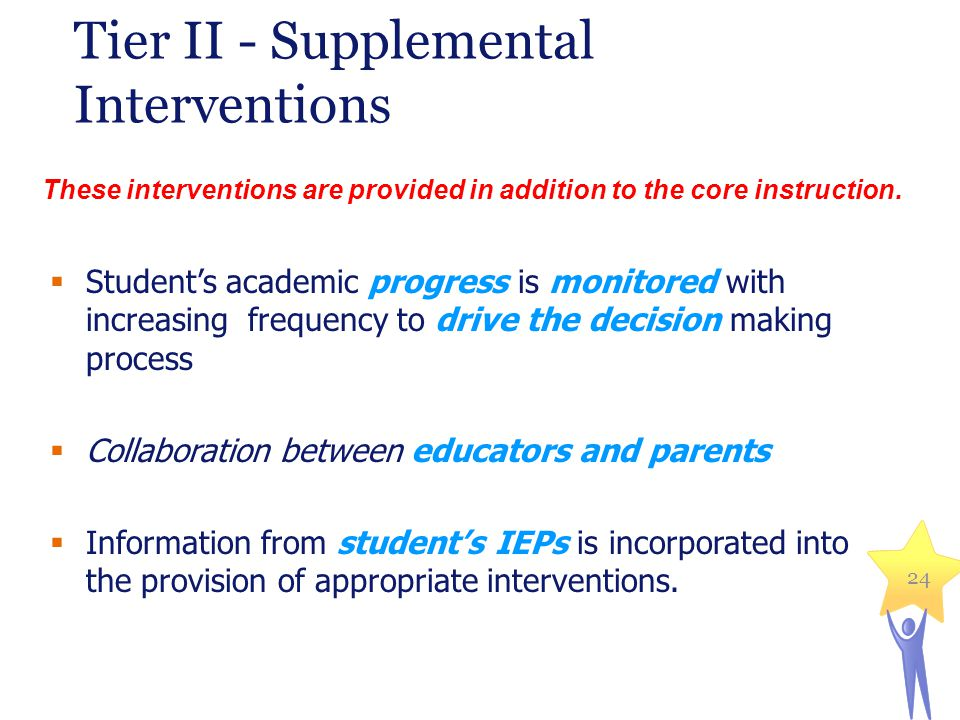24 Tier II - Supplemental Interventions Students academic progress is monitored with increasing frequency to drive the decision making process Collabo