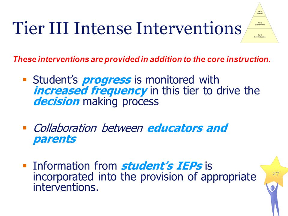 27 Tier III Intense Interventions Students progress is monitored with increased frequency in this tier to drive the decision making process Collaborat