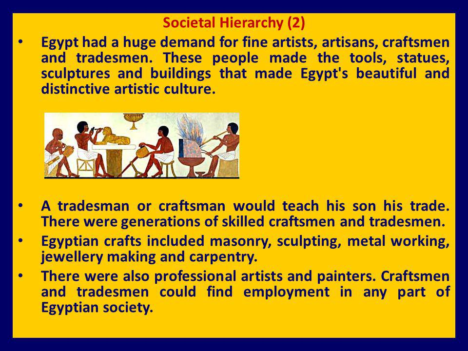Societal Hierarchy (2) Egypt had a huge demand for fine artists, artisans, craftsmen and tradesmen. These people made the tools, statues, sculptures a