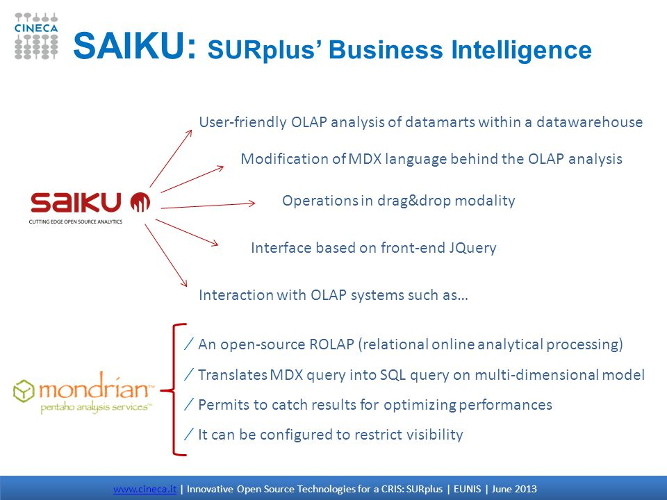 SAIKU: SURplus Business Intelligence User-friendly OLAP analysis of datamarts within a datawarehouse Operations in drag&drop modality Modification of MDX language behind the OLAP analysis Interface based on front-end JQuery Interaction with OLAP systems such as… An open-source ROLAP (relational online analytical processing) Translates MDX query into SQL query on multi-dimensional model Permits to catch results for optimizing performances It can be configured to restrict visibility www.cineca.itwww.cineca.it | Innovative Open Source Technologies for a CRIS: SURplus | EUNIS | June 2013