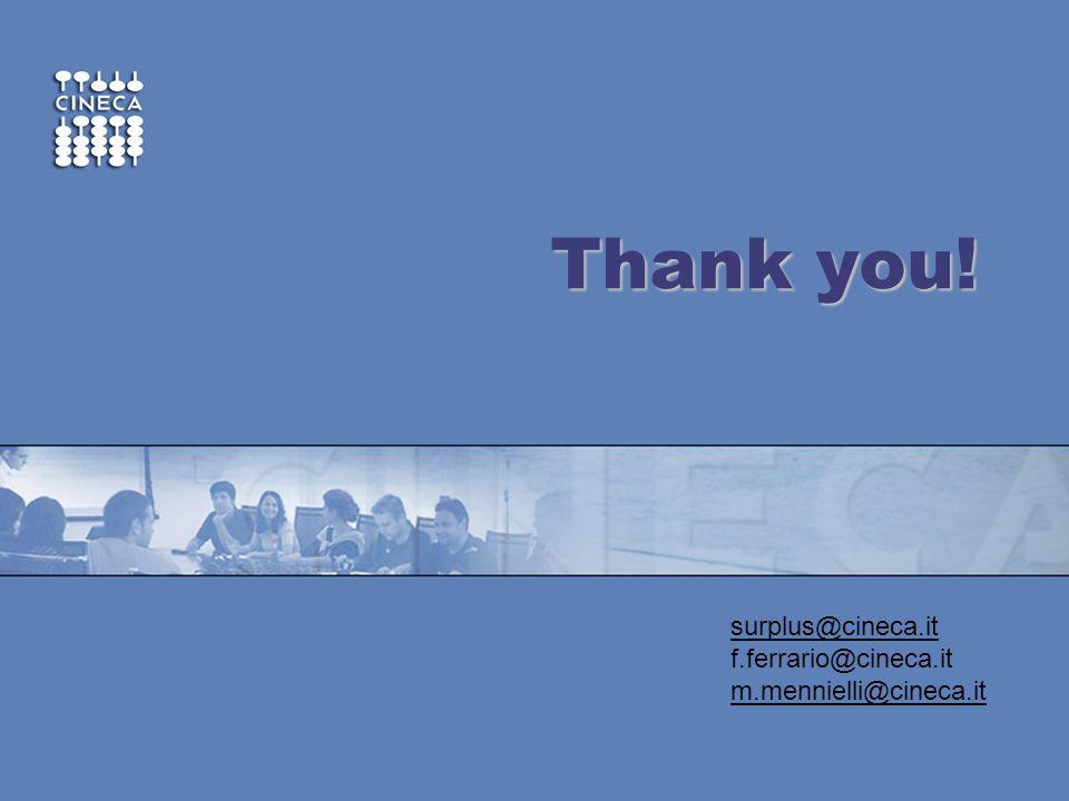 www.cineca.it ~ Thank you! surplus@cineca.it f.ferrario@cineca.it m.mennielli@cineca.it